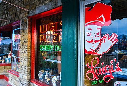 Front windows at Luigi's Restaurant.