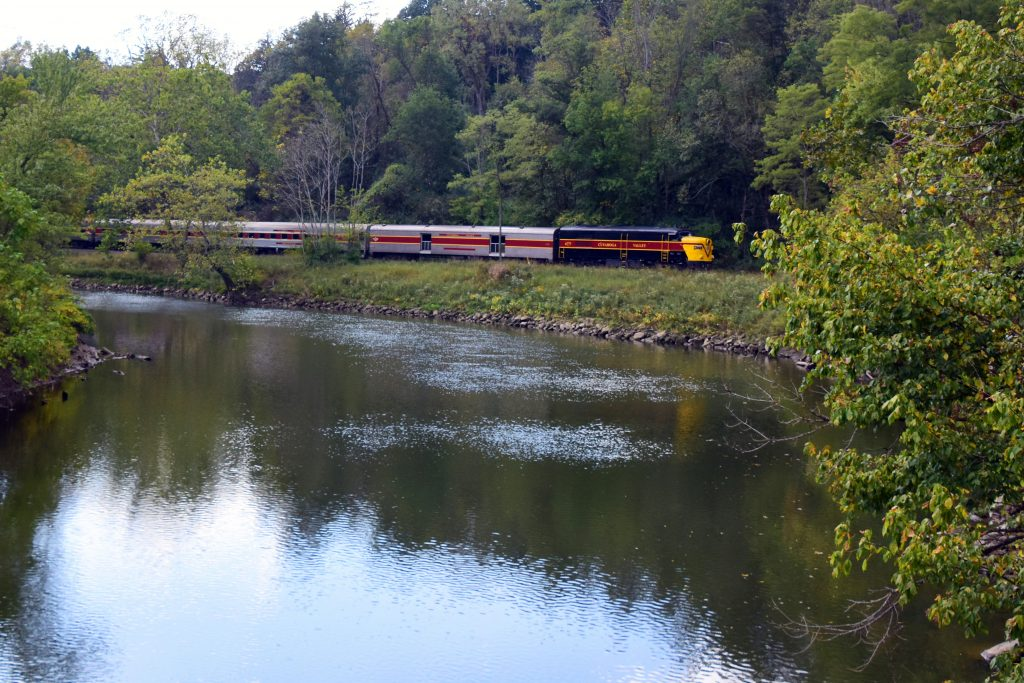 train seen from across the river